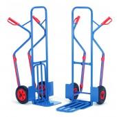 Diables acier à bavettes rabattables avec patins amovibles : Charge : 300 kg