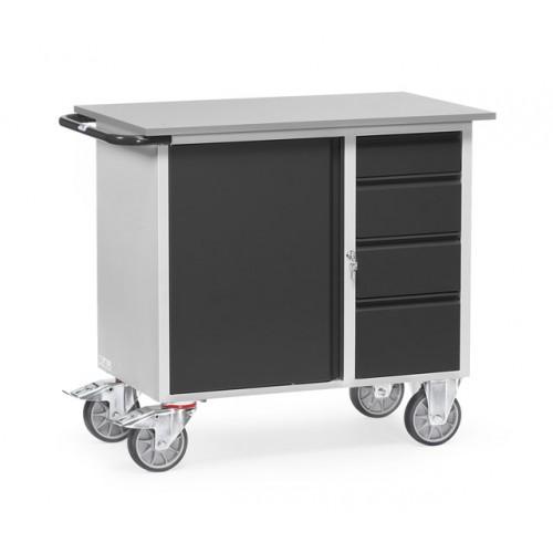 Servante d'atelier 400 kg à 1 placard et 4 tiroirs
