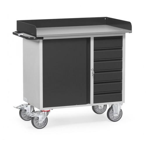 Servante d'atelier 400 kg (avec rebords) à 1 placard et 6 tiroirs