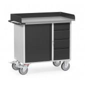 Servante d'atelier 400 kg (à rebords) avec 1 placard et 4 tiroirs