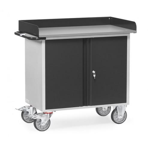 Servante d'atelier 400 kg (à rebords) avec 1 placard à 2 portes