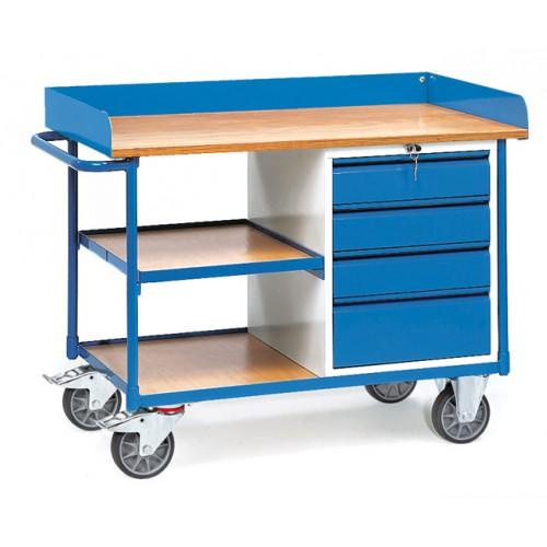 Etabli roulant à 1 étagère et 4 tiroirs