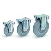 Roues fixes - Bandage caoutchouc - Bleu gris